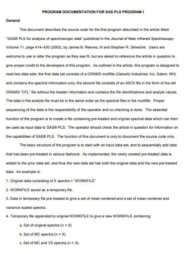 general program documentaation example