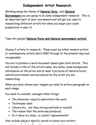 indipende artist research example