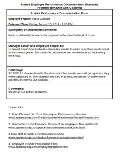 instant employee performance documentation examples