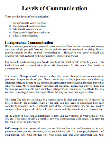 intrapersonal levels of communication
