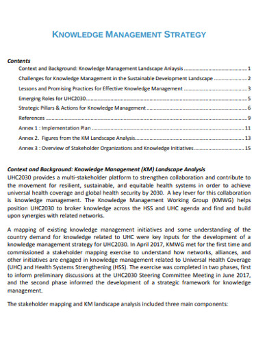 knowledge management strategy example