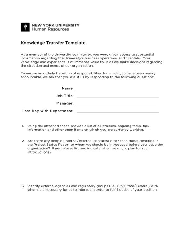 knowledge transfer plan 5