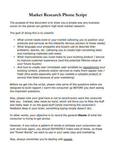 market research phone script