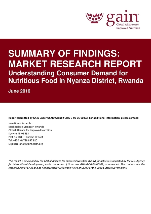 market research summary report