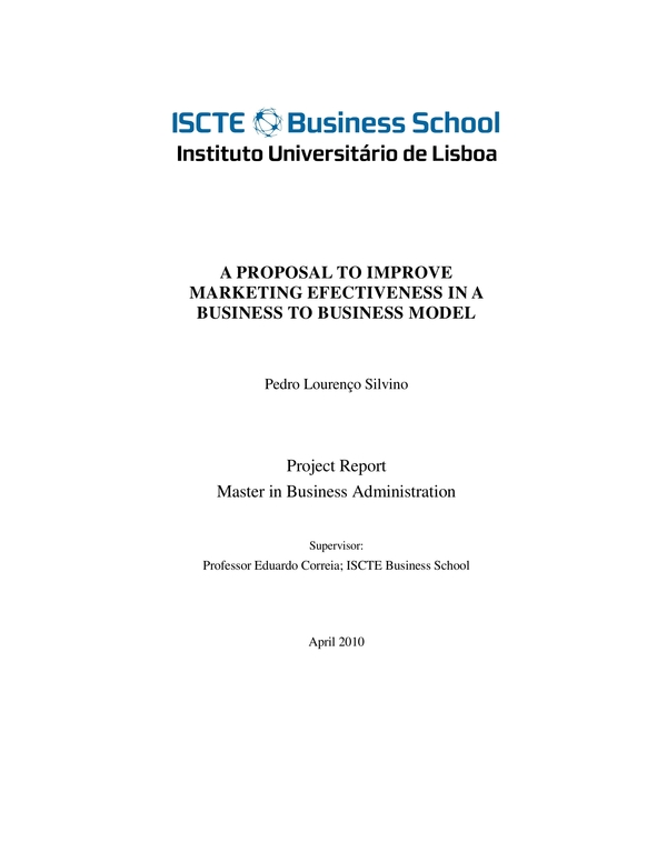 marketing research proposal for a business to business model
