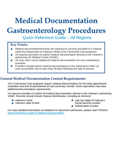 medical documentation gastroenterology procedures