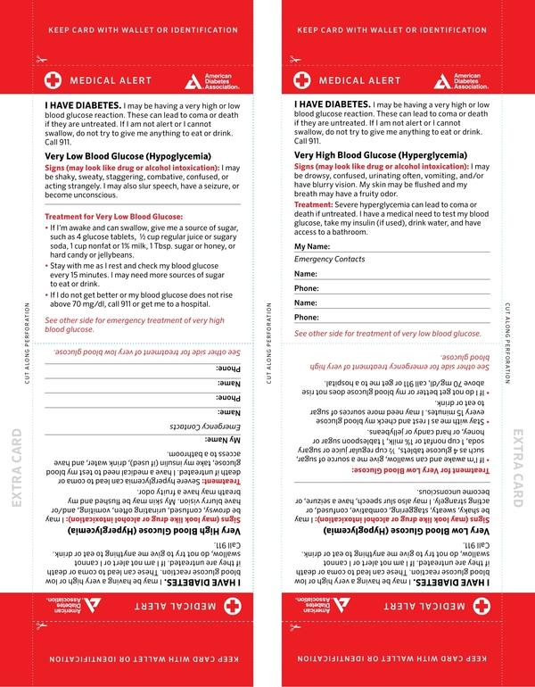 medical emergency id card example