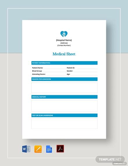 medical sheet