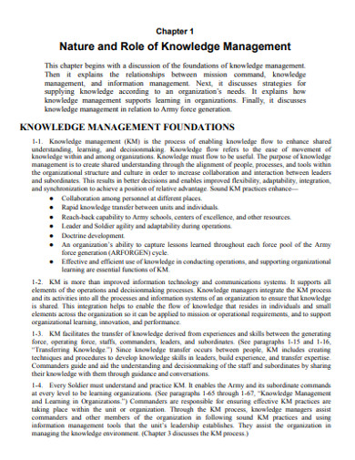 nature and role of knowledge management