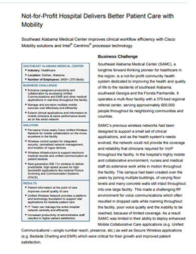not for profit hospital patient case study