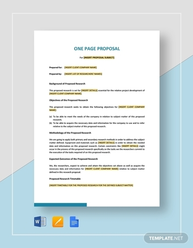 one page research proposal template