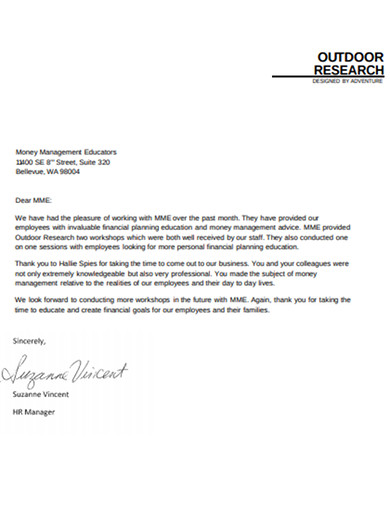 outdoor research letter example