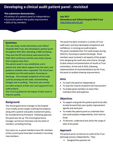 patient clinical audit case study example