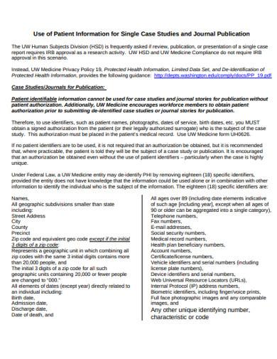 patient information for single case studies