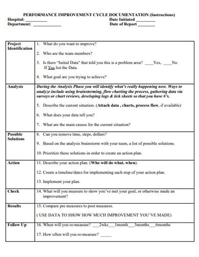 performance improvement cycle documentation example