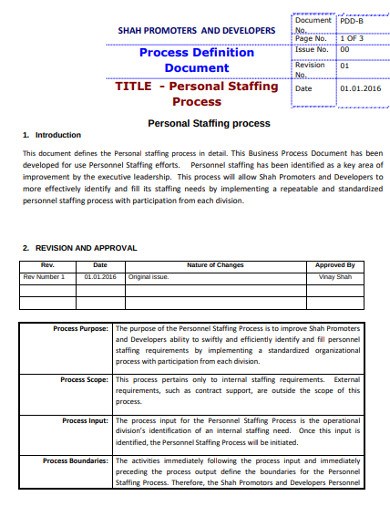 personal staffing process document example