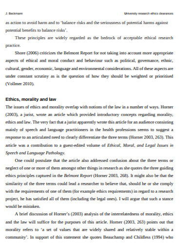 printable academic research ethics example