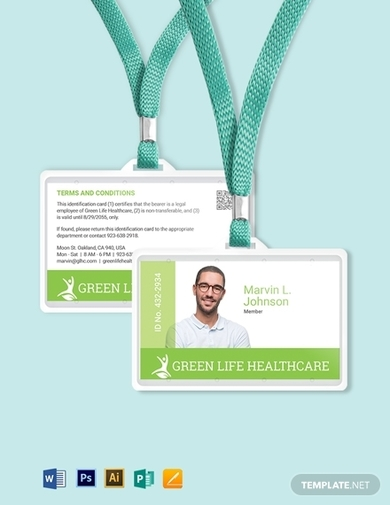 printable healthcare id card template