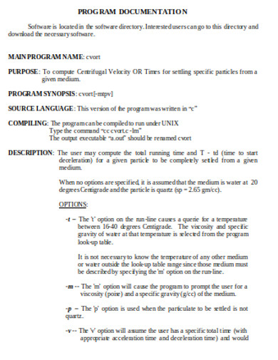 program documentation in doc