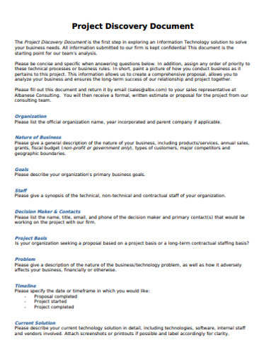 project discovery document