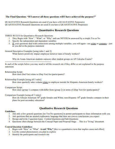quaantitative research questions example