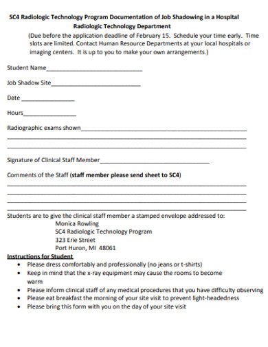 radiologic technology program documentation