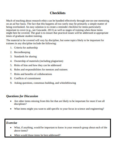 research ethics checklist example