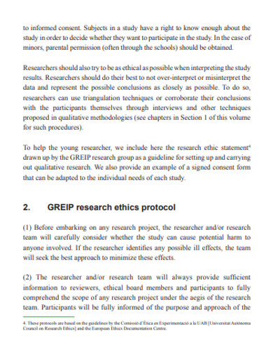 research ethics protocal example
