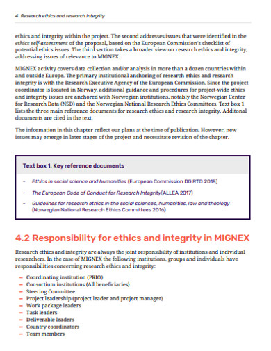 research ethics aand integrity example