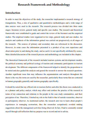 research framework methodology example