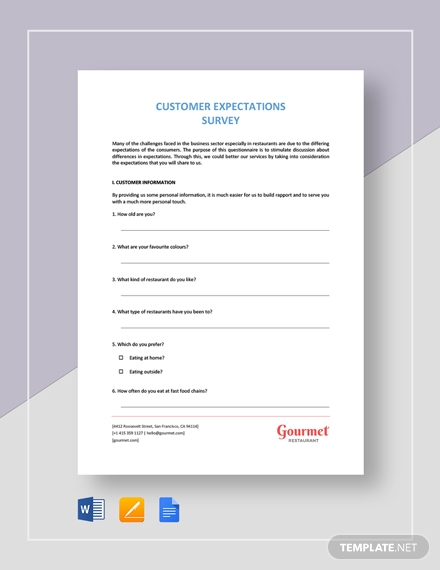 restaurant customer expectation survey 2
