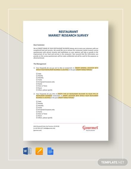 restaurant market research survey