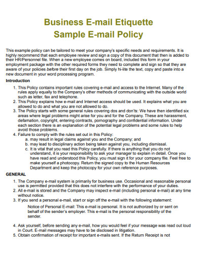 sample business e mail etiquette policy