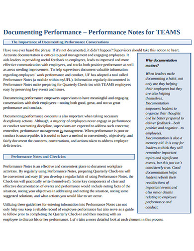 sample performance documenting example