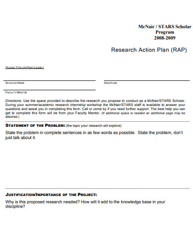 sample research action plan