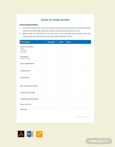 scope of work report