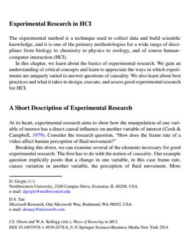 short description of experimental research