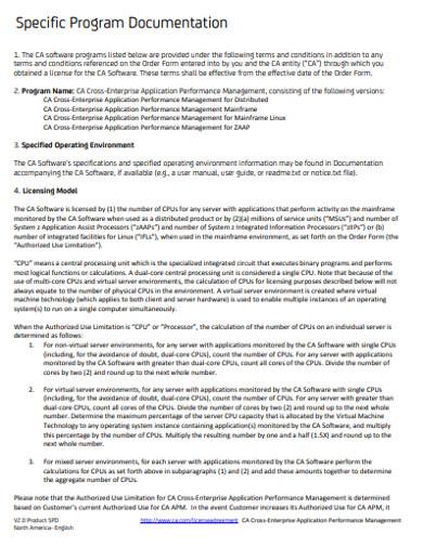 simple specific program documentation