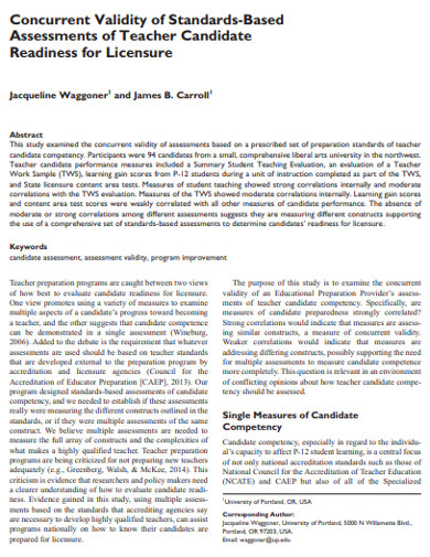 standard concurrent teacher assessment validity