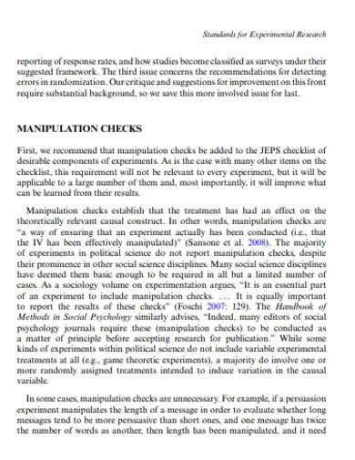 standards for experimental researchs