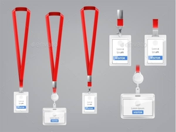 vector set of id cards badges with red lanyards