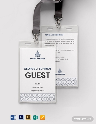 visitor guest id card format template