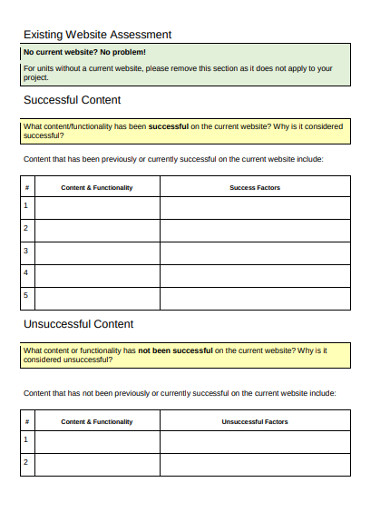 web project assessment discovery example