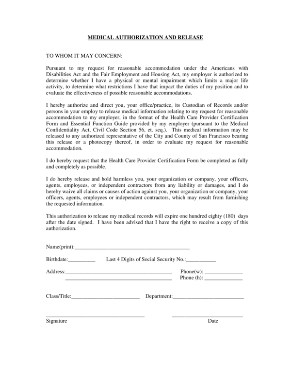 medical release form 2