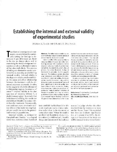 establishingtheinternalandexternalvalidityofexperimentalstudies page 002