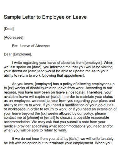 sample employee leave application email letter