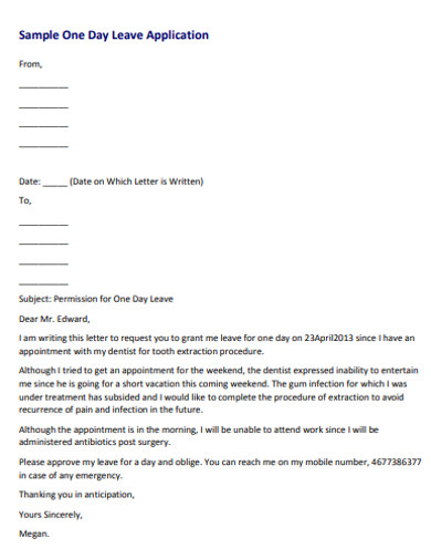 sample leave application email for one day
