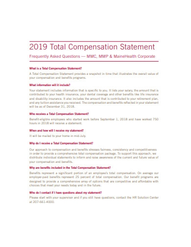 2019 total compensation statement