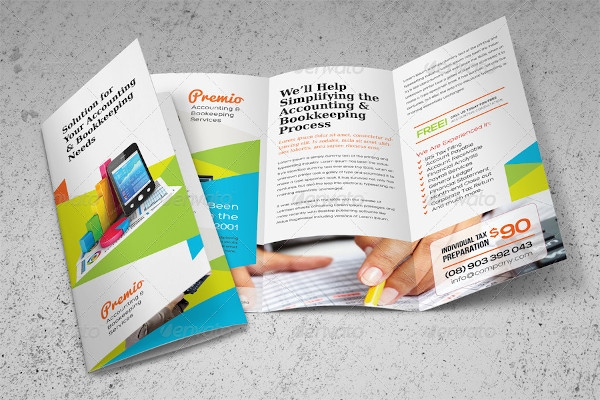 accounting and bookkeeping services trifold brochure