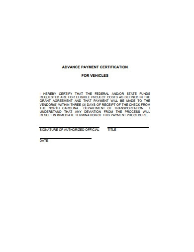 advance payment certificate for vehicles